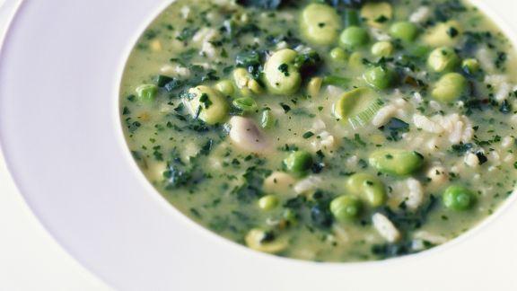 Rezept: Bohnen-Erbsen-Suppe mit Reis