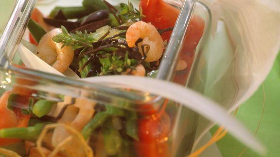 Rezept: Bohnensalat mit Garnelen und Arame