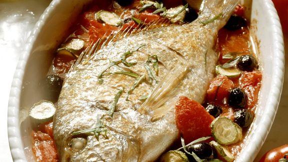 Rezept: Brasse auf Tomatengemüse