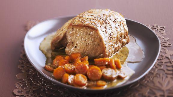 Rezept: Braten vom Schwein mit Karottengemüse und Senf-Cidre-Soße