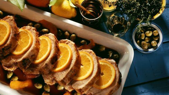Rezept: Braten vom Schwein mit Oliven und Orangen