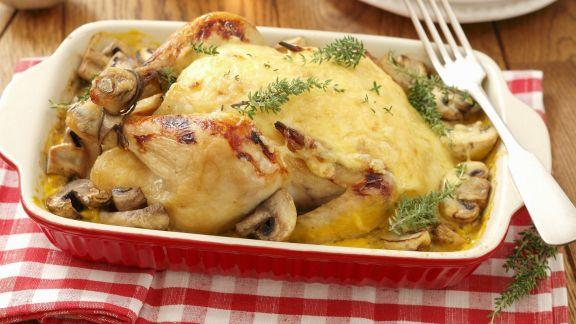 Rezept: Brathähnchen mit Käse überbacken