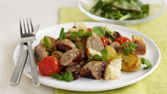 Rezept: Bratwurst mit Bratkartoffeln