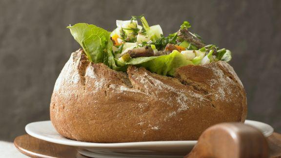 Rezept: Brot mit Füllung aus Siedfleisch