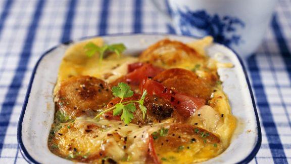 Rezept: Brotgratin mit Käse und Tomaten