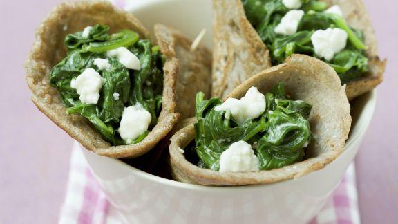 Rezept: Buchweizencrêpes mit Spinat und Feta