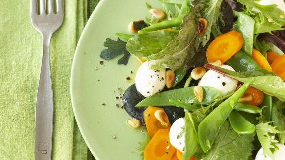 Rezept: Bunter Blattsalat mit Mozzarella
