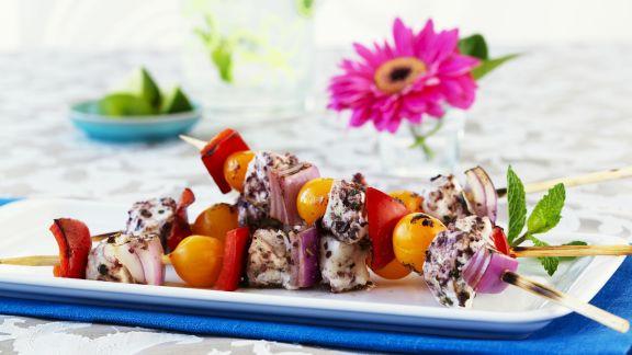 Rezept: Bunter Gemüse-Spieß mit Heilbutt