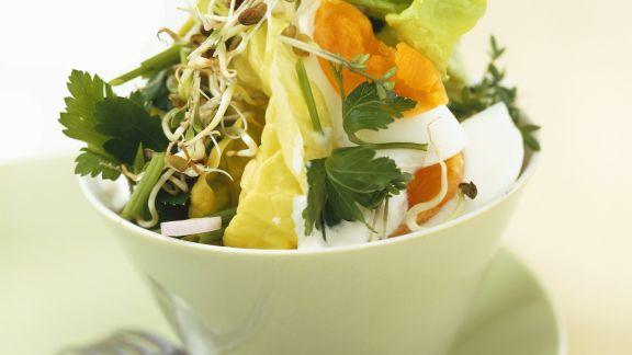Rezept: Bunter Salat mit Kräutern und Ei