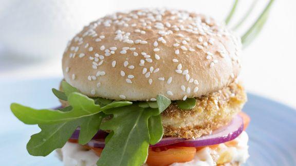 Rezept: Burger mit Fisch und Ingwer-Mayo
