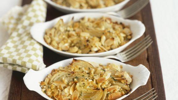 Rezept: Butterbohnen-Fenchel-Auflauf mit Mandeln