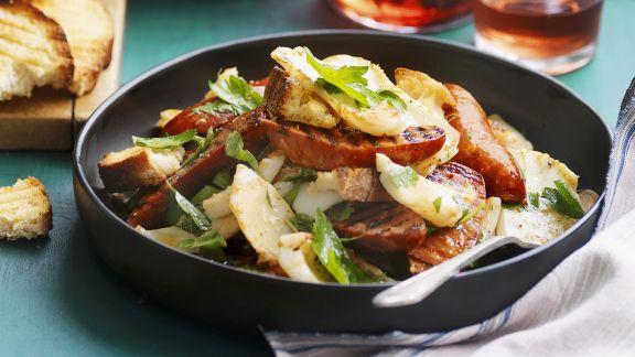 Rezept: Calamari mit Chorizo und Käse-Croutons