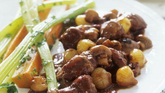 Rezept: Champignon-Enten-Ragout mit Zwiebeln