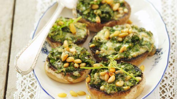 Rezept: Champignons gefüllt mit Rucola und Gorgonzola