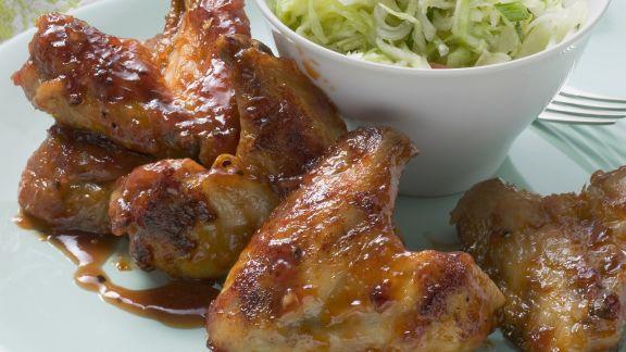 Rezept: Chicken Wings süß-sauer mariniert und Kohlsalat