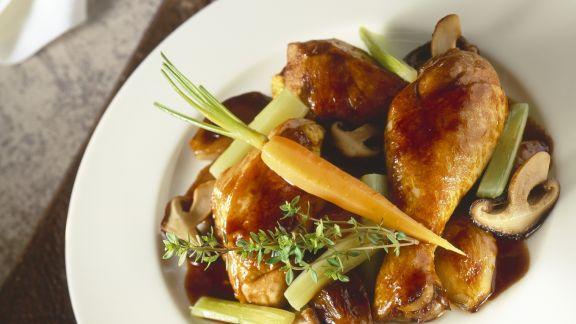 Rezept: Coq au vin mit Gemüse und Pilzen