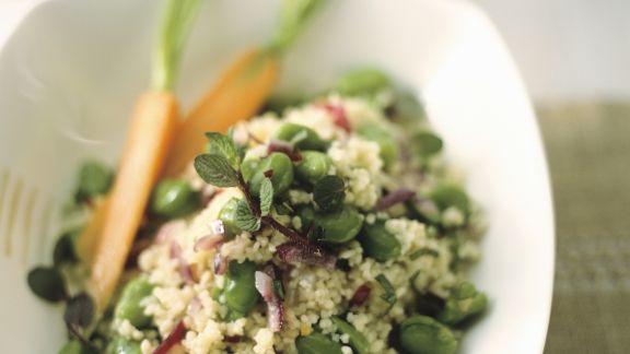Rezept: Couscous mit roten Zwiebeln und dicken Bohnen