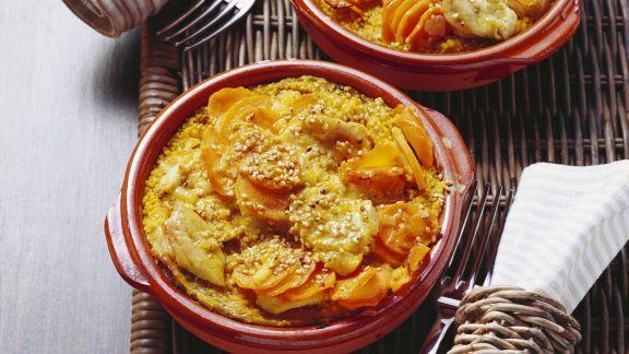 Rezept: Couscousauflauf mit Möhre, Pute und Sesam