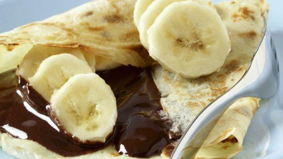 Rezept: Crêpe mit Schokosoße und Banane