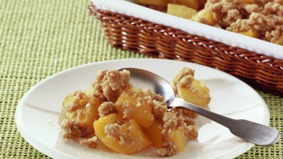 Rezept: Crumble mit Pfirsichen