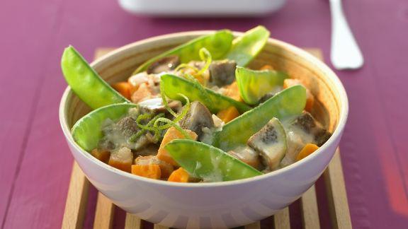 Rezept: Curry mit Auberginen und Kaiserschoten