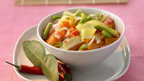 Rezept: Curry mit Kürbis, Süßkartoffeln, Kohl und Bohnen