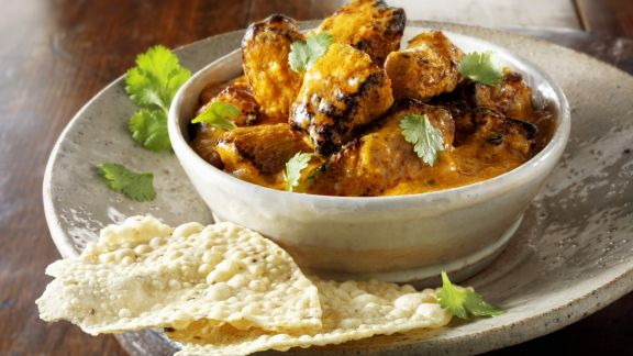 curry mit papadam indisches fladenbrot rezept eat smarter. Black Bedroom Furniture Sets. Home Design Ideas