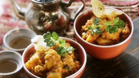 Rezept: Curry mit roten Linsen und Kartoffeln