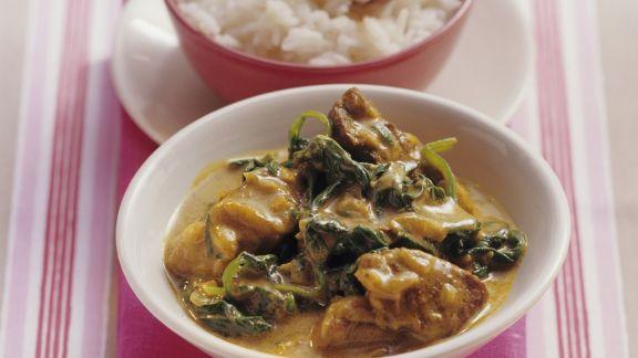 Rezept: Curry mit Spinat und Lammfleisch
