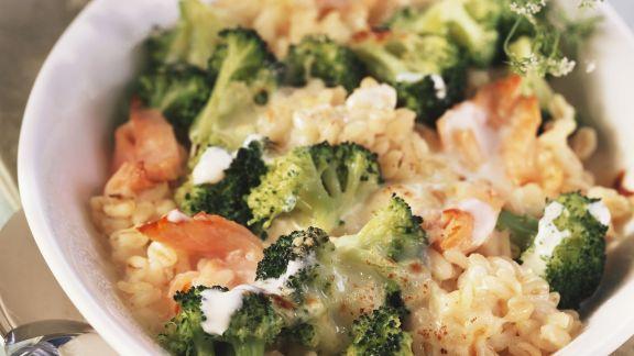 Rezept: Ebly-Gratin mit Brokkoli und Lachs