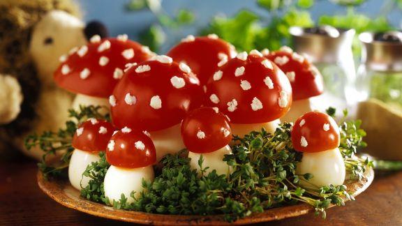 Rezept: Eier-Tomaten-`Fliegenpilze´