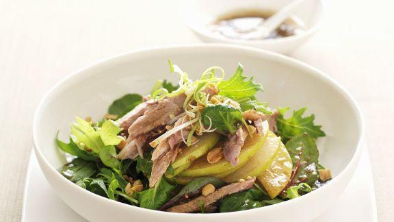 Rezept: Ente mit japanischer Birne (Nashi) und grünem Salat