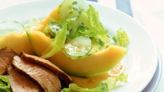 Rezept: Entenbrust mit Melone und Blattsalat