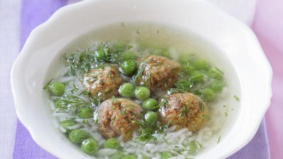 Rezept: Erbsen-Reis-Suppe mit Hackklößchen