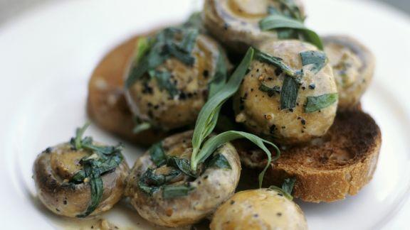 Rezept: Estragon-Champignons mit Röstbrot