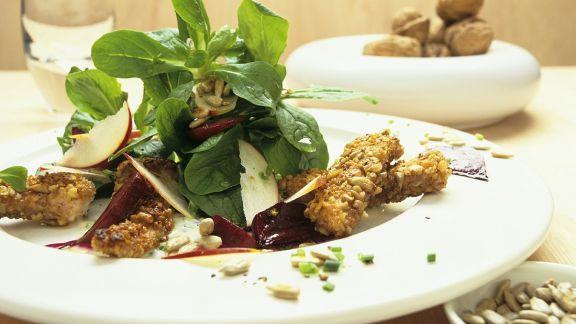 Rezept: Feldsalat mit Rote Bete und knuspriger Pute