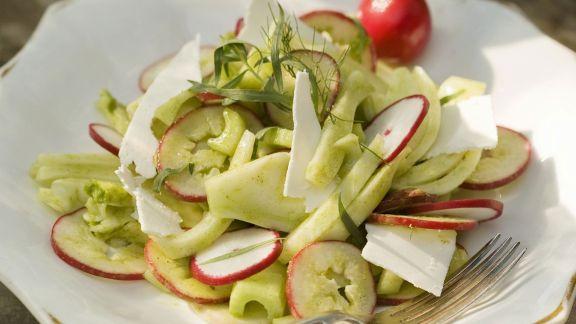Rezept: Fenchelsalat mit Sellerie und gesalzenem Ricotta (Ricotta salata)