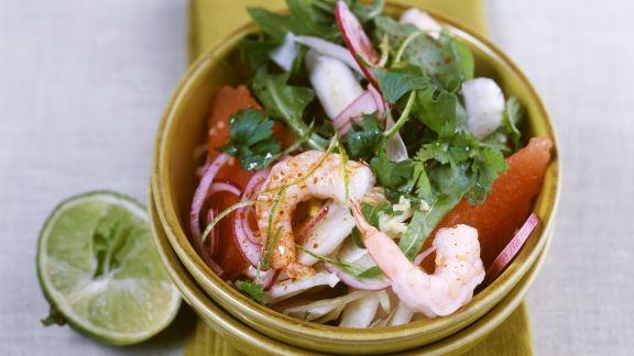 Rezept: Fenchelsalat mit Shrimps und Rucola