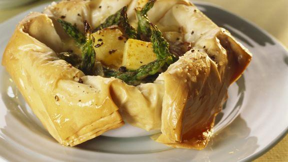 Rezept: Filo-Quiche mit grünem Spargel und Kartoffeln