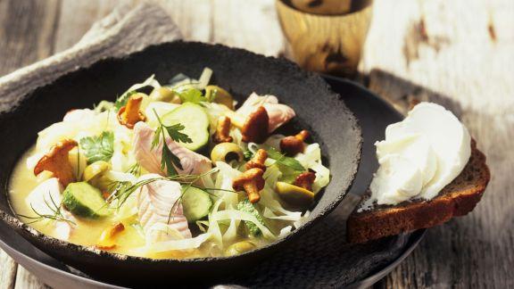 Rezept: Fisch-Gemüse-Topf mit Pfifferlingen
