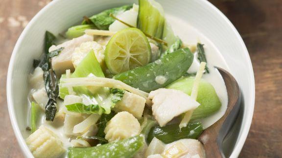 Rezept: Fisch mit Kaiserschoten, Mangold und kleine Maiskolben