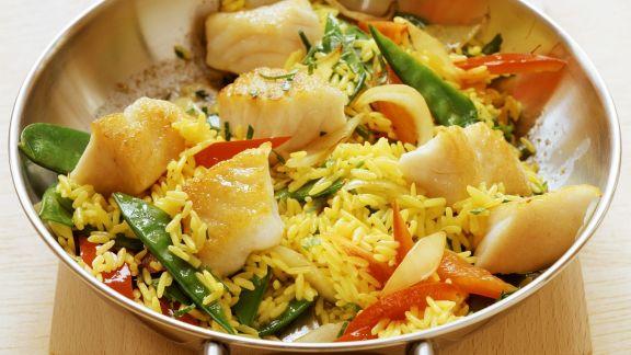 Rezept: Fisch-Reis-Pfanne mit Zuckerschoten und Paprika