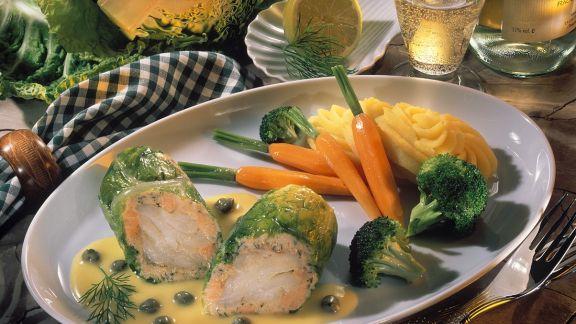 Rezept: Fisch-Wirsing-Rouladen