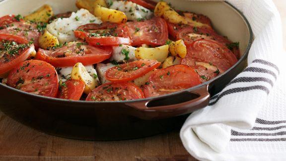 Rezept: Fischeintopf mit Tomaten und Kartoffeln