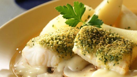 Rezept: Fischfilet mit Petersilienhaube in Wermut
