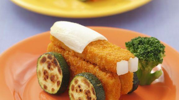 Rezept: Fischstäbchen und Zucchini