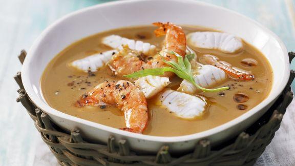 Rezept: Fischsuppe mit Garnelen auf bretonische Art