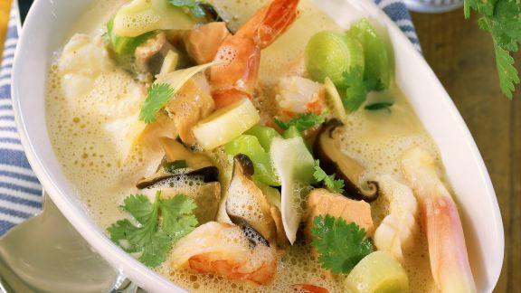 Rezept: Fischsuppe mit Porree und Shiitake