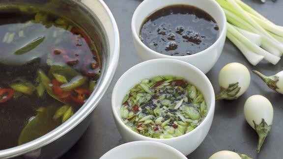 Rezept: Fondue auf asiatische Art mit Meeresfrüchten und Dips