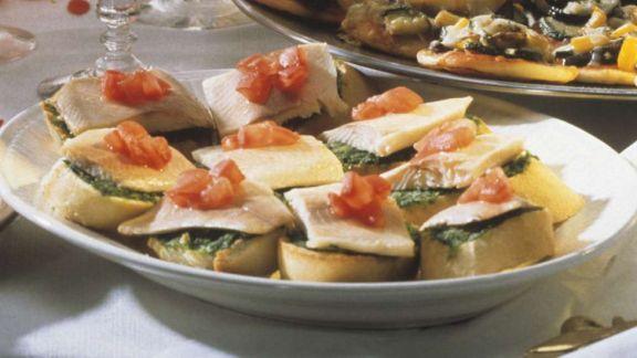Rezept: Forellefilets auf Baguettescheiben